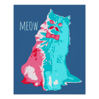 Meow Mustache Kitty Poster