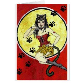 'Meow' Pin-Up Girl Card