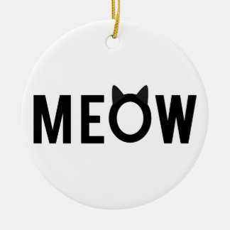 Meow, text design with black cat ears round ceramic decoration