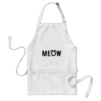 Meow, text design with black cat ears standard apron