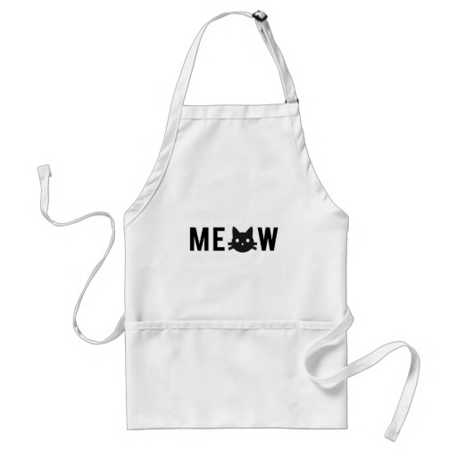 Meow, with black cat face, text design apron