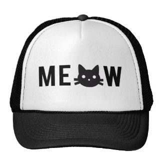 Meow, with black cat face, text design hat