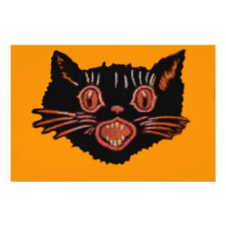 Meowing Black Cat Photographic Print