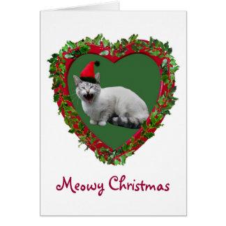 Meowing Santa Cat Card