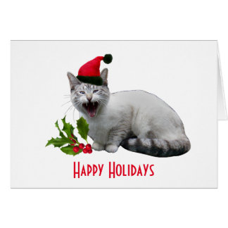 Meowing Santa Cat with Holly Holiday Card