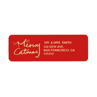 Meowy Catmas Custom Festive Red Return Address Return Address Label