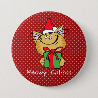 "Meowy Catmas Large 3"" Inch Round Button"