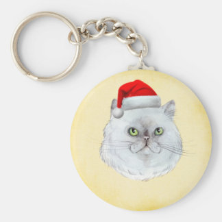 Meowy Christmas! A cute Cat with Santa Hat Key Ring