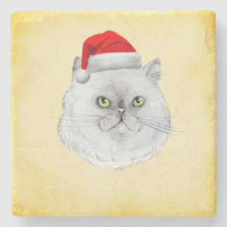 Meowy Christmas! A cute Cat with Santa Hat Stone Coaster