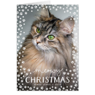 Meowy Christmas Cat Lover Holiday Folded Card