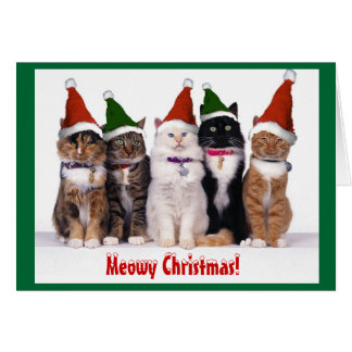 """Meowy Christmas!"" Cats Greeting Card"