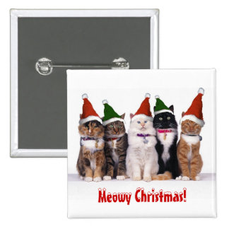 """""""Meowy Christmas!"""" Cats In Hats Buttons"""