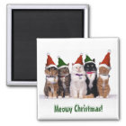 """""""Meowy Christmas!"""" Cats In Hats Magnet"""