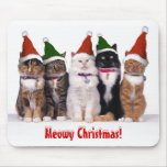 """""""Meowy Christmas!"""" Cats In Hats Mouse Pad"""