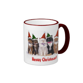 """Meowy Christmas!"" Cats In Hats Ringer Coffee Mug"