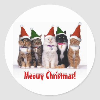 """Meowy Christmas!"" Cats In Hats Round Sticker"
