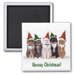 """Meowy Christmas!"" Cats In Hats Square Magnet"