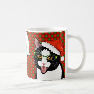 Meowy Christmas Comic Tuxedo Cat Mug