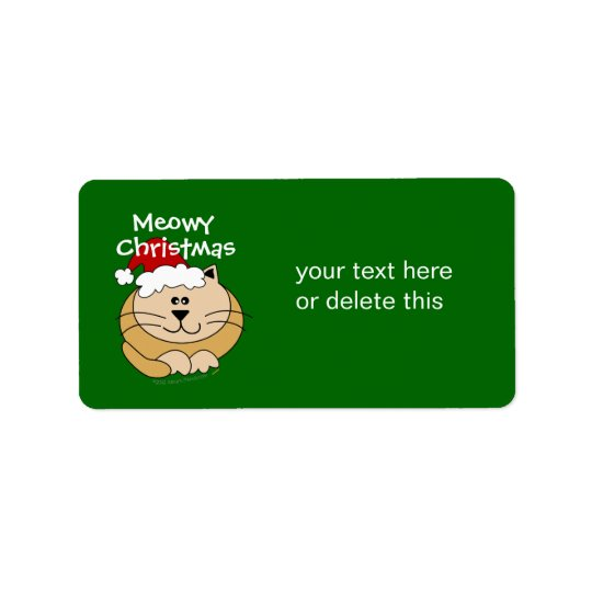 Meowy Christmas Cute Cartoon Cat Custom Address Label