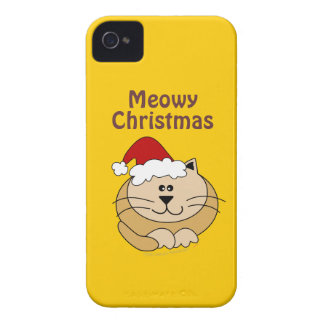 Meowy Christmas Cute Cartoon Cat Custom Blackberry iPhone 4 Case-Mate Cases