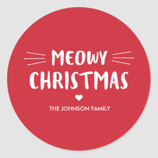 Meowy Christmas | Cute Cat Holiday Classic Round Sticker