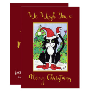 Meowy Christmas Cute Tuxedo Cat Custom Holiday Card