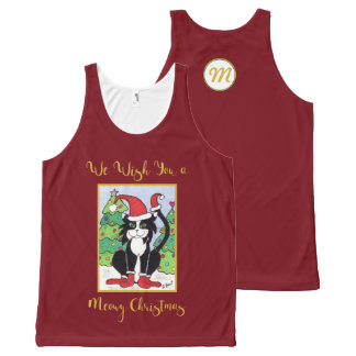 Meowy Christmas Cute Tuxedo Cat Monogram Holiday All-Over Print Singlet