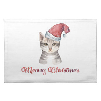 Meowy Christmas Design for Cat Lovers Placemat
