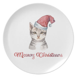 Meowy Christmas Design for Cat Lovers Plate