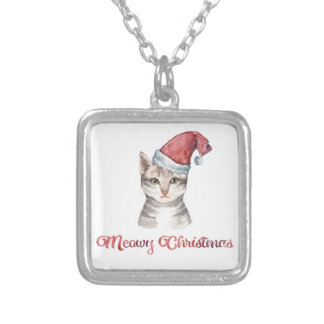 Meowy Christmas Design for Cat Lovers Silver Plated Necklace