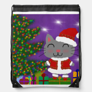 Meowy Christmas Drawstring Bag