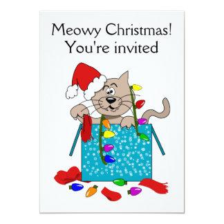 Meowy Christmas Funny Cartoon Cat Party Invites