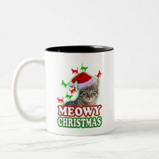 Meowy Christmas funny cat holiday coffee mug