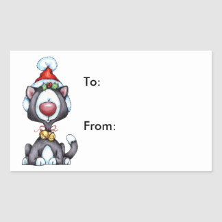 Meowy Christmas - Gift Tags Rectangular Sticker