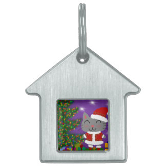 Meowy Christmas Pet ID Tag