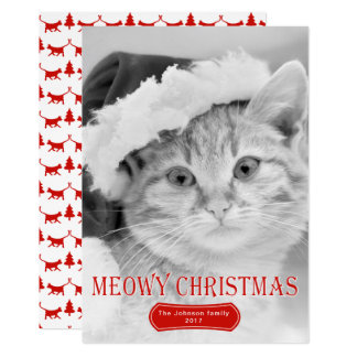 Meowy Christmas red kitten pet Christmas photo Card