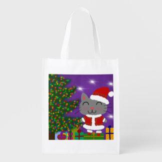 Meowy Christmas Reusable Grocery Bag