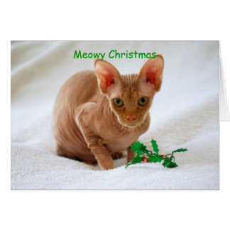 Meowy Christmas Sphinx Cat Greeting Card