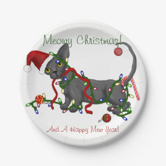 Meowy Christmas! Sphynx and Bambino plates