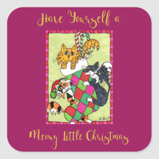 Meowy Little Christmas Kittens & Stocking Holiday Square Sticker
