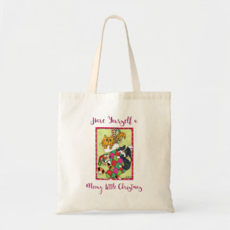 Meowy Little Christmas Kittens & Stocking Holiday Tote Bag