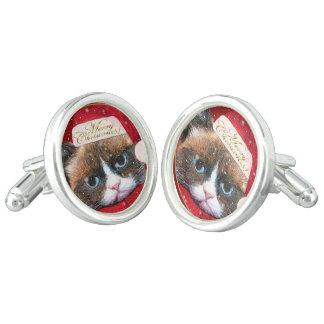 Meowy Santa Cat Christmas Cufflinks