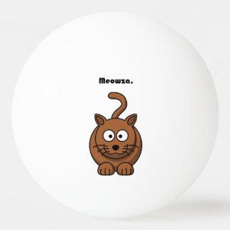 Meowza Brown Cat Cartoon Ping Pong Ball