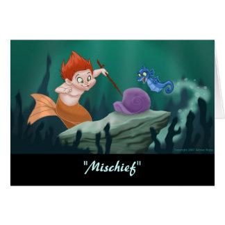 "Merboy ""Mischief"" Greeting Card (Blank Inside)"