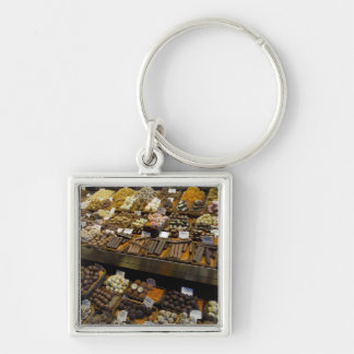 Mercat de Sant Josep, assorted chocolate candy Silver-Colored Square Key Ring