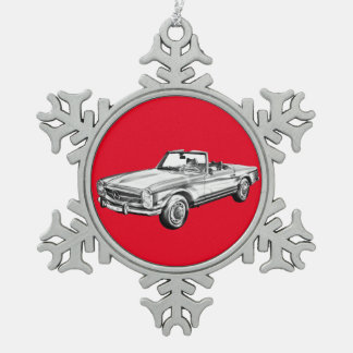 Mercedes Benz 280 SL Convertible Car Illustration Snowflake Pewter Christmas Ornament