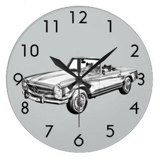 Mercedes Benz 280 SL Convertible Illustration Large Clock