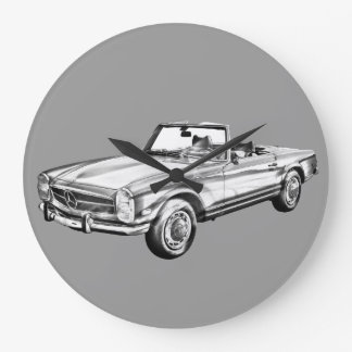 Mercedes Benz 280 SL Convertible Illustration Wall Clock