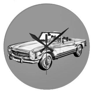 Mercedes Benz 280 SL Convertible Illustration Wall Clock