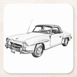 Mercedes Benz 300 sl Classic Car Illustration Square Paper Coaster
